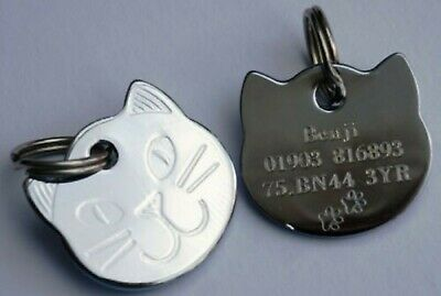 CAT ID Tag Engraved Quality Highly Polished Chrome Solid Cat Shape Face Tags