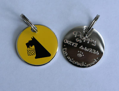 DOG ID TAG - HAND ENGRAVED PET ID DISC - PET JEWELLERY - Bright Yellow