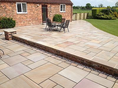 Golden Sands Premium Indian Sandstone Patio Paving Slabs Stone 19.5m2 Patio Pack