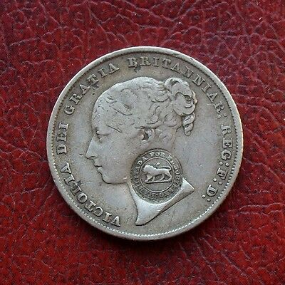 Costa Rica silver 2 reales c/mkd on 1844 UK shilling