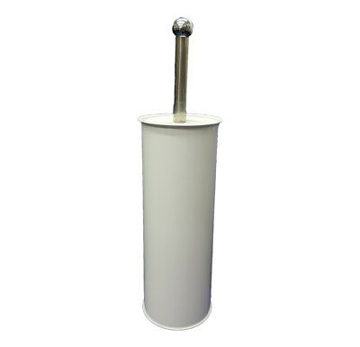 Modern Bathroom Toilet Brush Holder Stand Cleaning Free Standing White Steel
