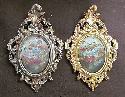 VINTAGE ORNATE FRAME WITH FLORAL PICTURE GOLD TONE MADE IN ITALY SET of 2