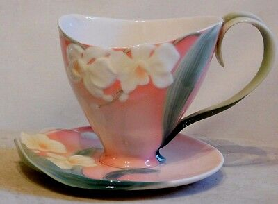 FRANZ PORCELAIN ~ WINTER MOTH ORCHID ~ CUP AND SAUCER SET ~ FZ00033 ~ Boxed