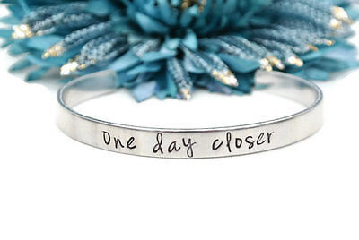 One Day Closer | Long Distance Relationship Hand Stamped Bracelet Deployment
