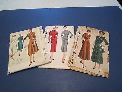 3 Vintage 1940's Womens DRESSES SEWING PATTERNS Simplicity & McCall's