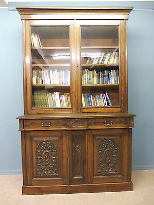 Large Antique Victorian Carved Oak   Bookcase