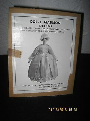 Vintage Yield House Porcelain Doll Kit Dolly Madison American First Lady A-18