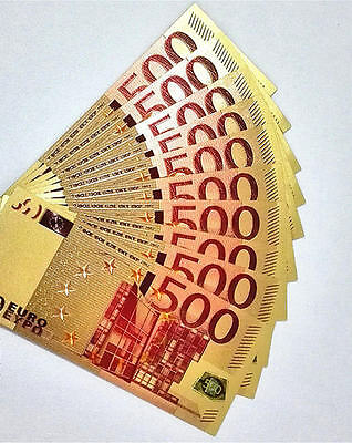 24K Gold Foil Banknotes  €500  Gifts Home Decor Collections 1PCS