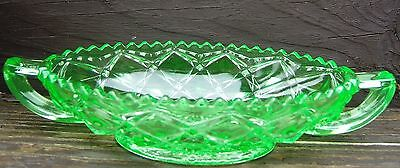 Vintage Green Depression Cut Glass Condiment Relish Dish Handles Diamonds 1940s