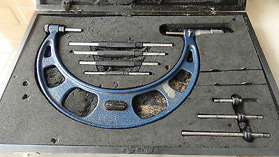 """Moore & Wright 4"""" to 8"""" combination/ external micrometer set, complete"""