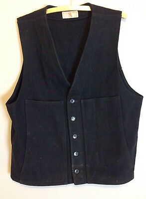 Vtg 80s Filson Mackinaw Navy Blue Virgin Wool Hunting Vest Mens Sz 46""