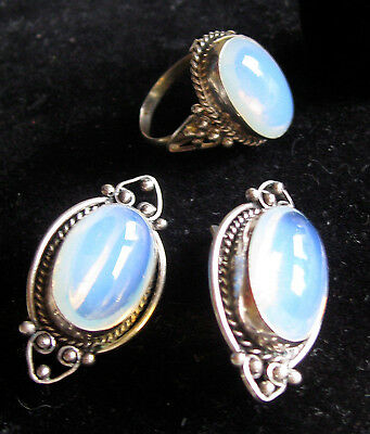 Moonstone Silver Handmade Set Large Cameo Earrings and Ring sz 7