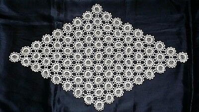 Beautiful Vintage Hand-Knitted Cotton Crochet Ecru Floral Oval Tablecloth