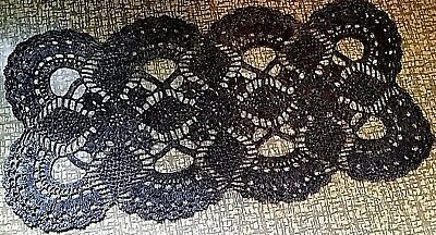 Beautiful Vintage Hand-Knitted Cotton Crochet Black Tablecloth