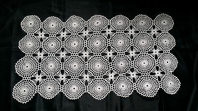 Beautiful Vintage Hand-Knitted Cotton Crochet White Floral Tablecloth