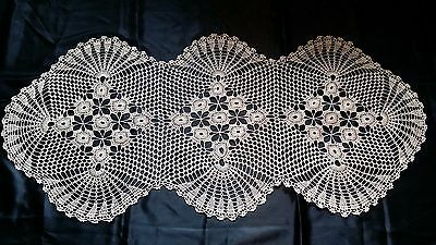 Beautiful Vintage Hand-Knitted Cotton Crochet Ecru Floral Tablecloth