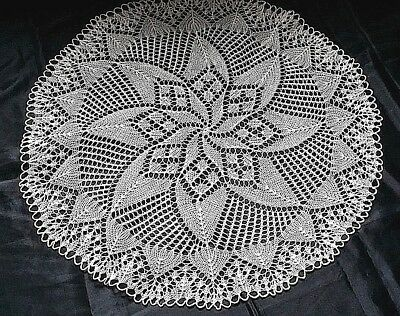 Beautiful Vintage Hand-Knitted Cotton Crochet Floral Oval Tablecloth