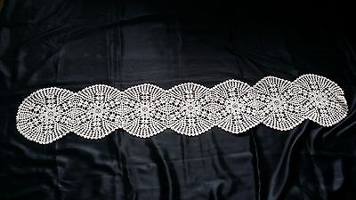Beautiful Vintage Hand-Knitted Cotton Crochet Floral Tablecloth For Piano