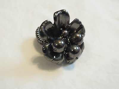 "Beautiful Dark Silver Tone Chunky Cocktail Ring Stretch 1.5"" Face Dangling Beads"