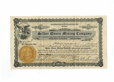 Silver Queen Mining Company 1907 Stock Certificate #51