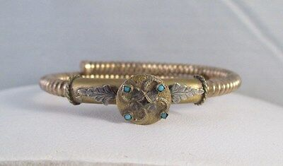 ANTIQUE Vintage VICTORIAN GOLD FILLED COILED BRACELET~Turquoise Cabochons
