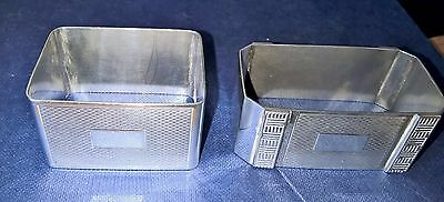 2 solid sterling silver napkin holder rings Birmingham h.bros 1951