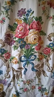 Amazing Vibrant Heavy Cotton / Linen Vintage Floral Ditsy Roses Fabric Curtain