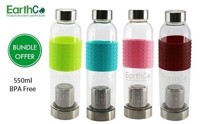 EarthCo 550mL Glass Tea Bottles with Infuser and Silicone Grip Bundle Offer