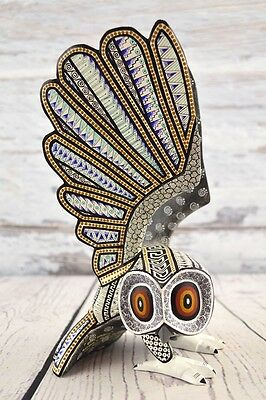 A1134 Owl Alebrije Oaxacan Wood Carving Painting Handcrafted Folk Art Mexican Cr