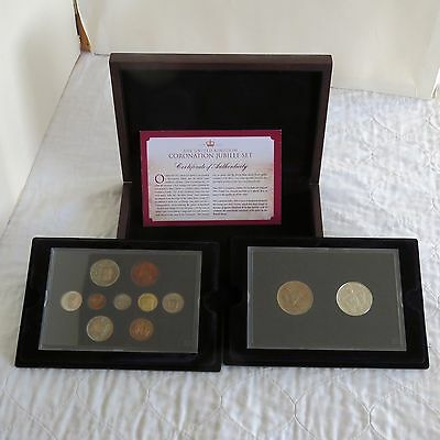 1953 10 COIN PROOF YEAR SET AND 2013 BU £5 DIAMOND JUBILEE CROWN SET - boxed