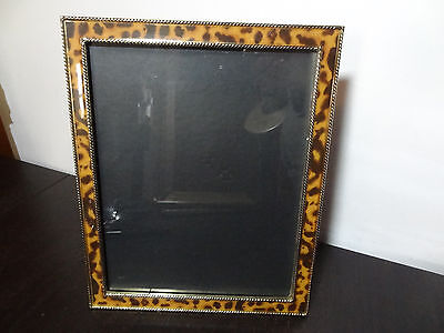 Gold Tone Metal and Enameled Leopard Print 8 x 10 Photo Frame