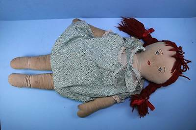 "VINTAGE 24"" ALL CLOTH DOLL in PRINT DRESS &  PRAIRIE STYLE BONNET Shorts"