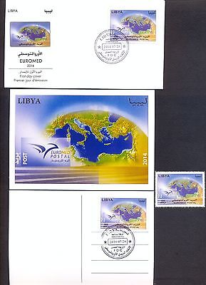 Libya 2014 - FDC + Stamp + Maxicard - Euromed Postal - Joint issue
