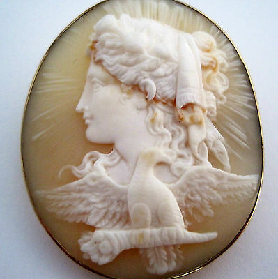 SUPERB QUALITY VICTORIAN 9ct GOLD CAMEO HEBE & THE EAGLE