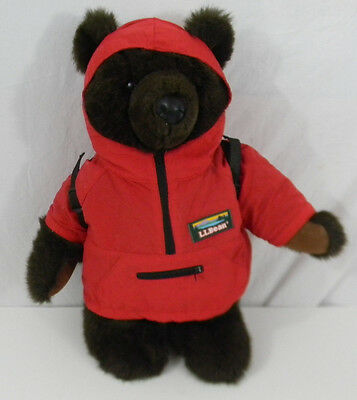 "LL Bean Plush Bear w/ Hooded Red Parka & Backpack 17"" Tall Brown Teddy Stuffed"