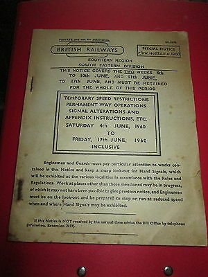 British Railways Southern Special notice No22 SED 1960  Temp. Speed Restriction