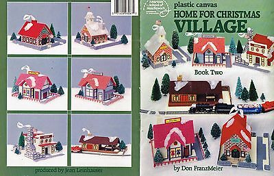 Vintage Plastic Canvas Pattern Home For Christmas Village 1989 Book 2