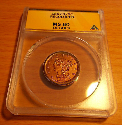 1857 Braided Hair Half Cent 1/2c ANACS MS60 Last Coin in the Series/Low Mintage
