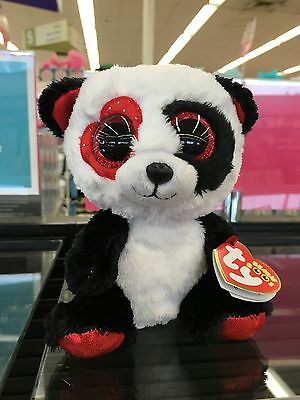 "Ty Beanie Boo VALENTINA the Valentine Panda 6"" New Exclusive In Hand!!! MWMT"