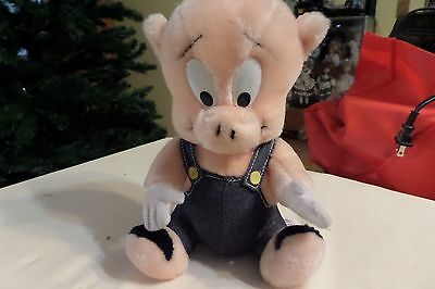 Warner Brothers Porky Pig 24K Stuffed Animal Blue Overalls 9 Inches Nwot