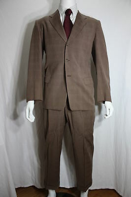 Vintage wool suit S Sears fleck check 3 button hollywood 40's atomic vtg