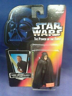 luke skywalker with lightsaber and cloak star wars potf red card