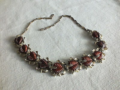 """Beautiful Necklace Choker Gold Tone Brown Leaf Cabochons 12-16"""" NICE"""
