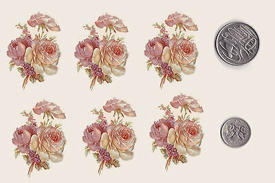 6 x Waterslide ceramic decals. Pink and white roses bunch Floral Flowers PD44