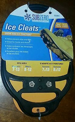 Subzero Ice Cleats -Snow & Ice Traction - Easy Slip On, Women 7-13, Men 8-12