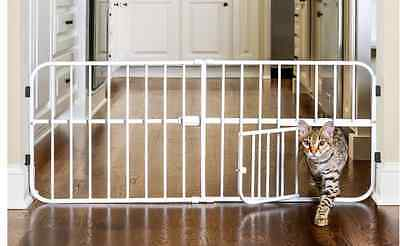 Carlson Adjustable Metal Gate with Small Pet Cat Puppy Door,  White, 66-106cm