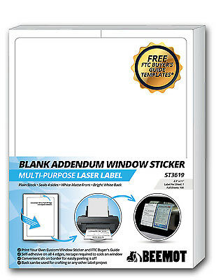 BEEMOT Blank Addendum Laser Window Sticker Plain White Multipurpose Full Page La