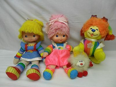 "Vintage 1983 Rainbow Brite Lot 17"" Doll 16"" Baby & Puppy Brite Dog Twink Sprite"