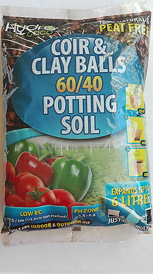 HYDRO COCO Coir and Clay Balls 60/40 Potting Soil 100% Natural & Peat Free 6L