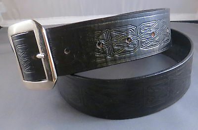 """1 1/2"""" Black Belt with Celtic Knots, will fit waists 32"""" to 35"""", handmade"""